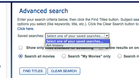 Saved searches dropdown